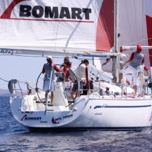 Tým BOMART se spinakrem v navigační etapě.